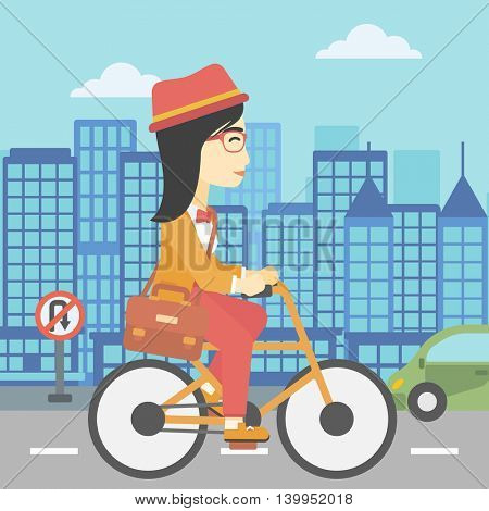 An asian young woman riding a bicycle. Cyclist riding bike on city background. Business woman with briefcase on a bike. Healthy lifestyle concept. Vector flat design illustration. Square layout.