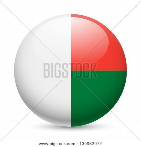 Flag of Madagascar as round glossy icon. Button with Malagasy flag