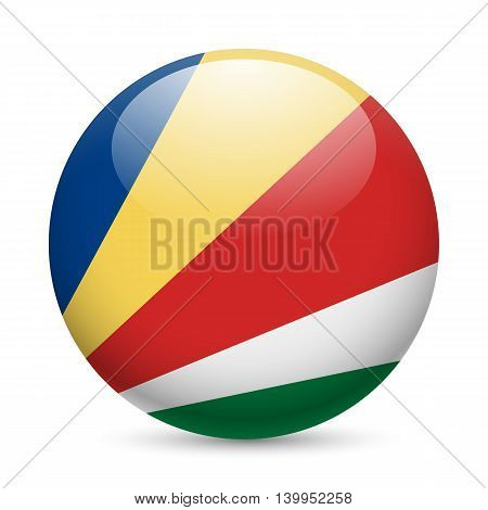 Flag of Seychelles as round glossy icon. Button with flag colors