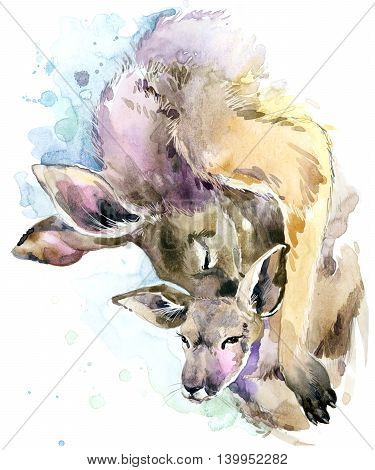 Kangaroo watercolor. Kangaroo and baby cub. Kangaroo family watercolor illustration. Motherhood watercolor background