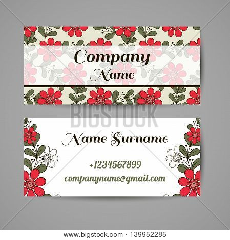Business card with hand drawn red flowers on gray background. Vector illustration.