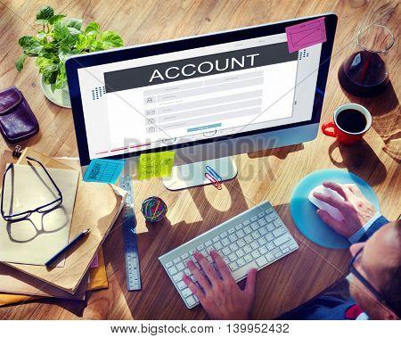 Account Membership Registration Follow Concept