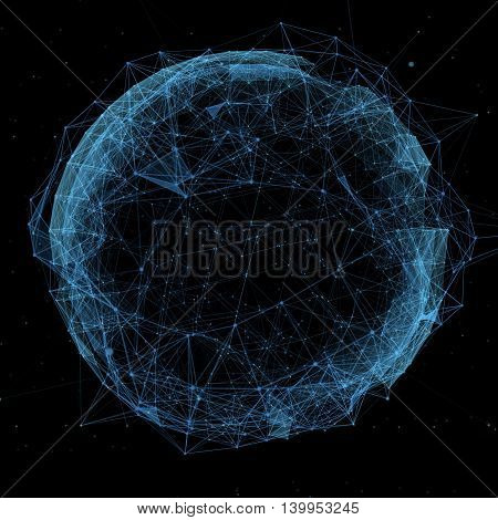 new technology and virtual sphere globe blue hologram