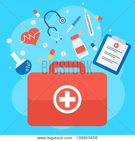 Emergency suitcase. Medicine healthcare services concept. Medical infographics elements. Objects isolated on white background. Flat cartoon vector illustration.