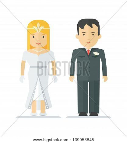 Happy young newlywed couple. Family and harmonious relationship. Objects isolated on white background. Flat cartoon vector illustration.