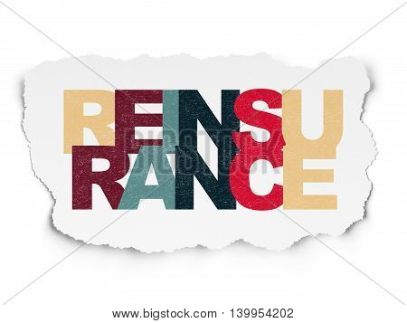 Insurance concept: Painted multicolor text Reinsurance on Torn Paper background