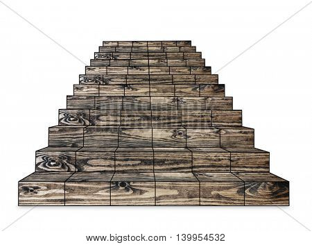 wooden stairs on a white background