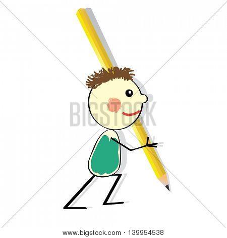boy with big pencil