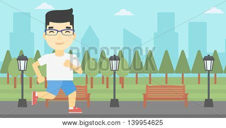 An asian young man running. Male runner jogging outdoors. Sportsman running in the park. Running man on forest road. Vector flat design illustration. Horizontal layout