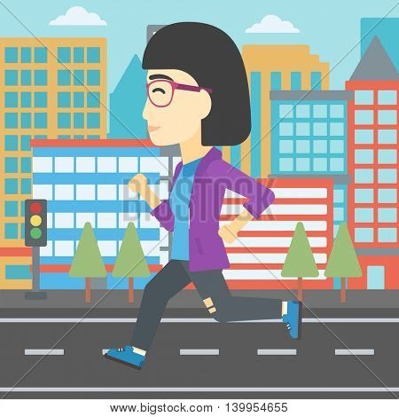 An asian young woman running. Female runner jogging. Full length of a female athlete running. Sports woman running on a city background. Vector flat design illustration. Square layout.