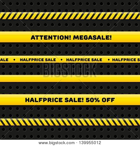 Police line for megasale, realistic vector set isolated on dark background. Seamless caution tapes