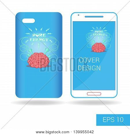 Concept design cover mobile smartphone with funny brain and electric lightning cartoon style isolated on white background. Vector illustration