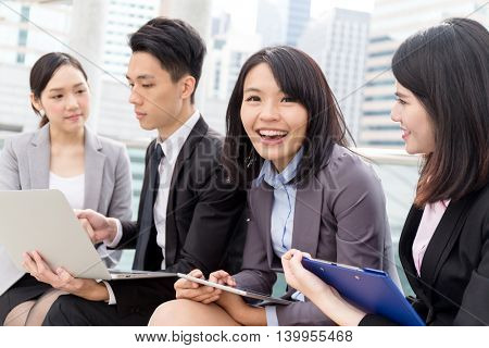 Group of business people working at outdoor