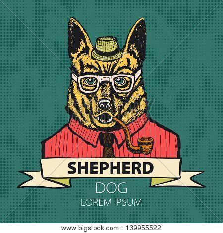 Portrait Of German Shepherd. Hand-drawn Illustration, Digitally Colored. Vector