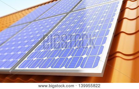 Solar panels on the roof. 3d Illustrations
