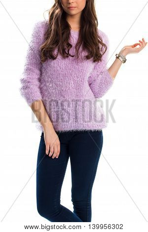 Lady in light purple pullover. Navy slim fit trousers. Brand new warm sweater. Renew wardrobe before spring comes.