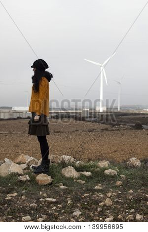 Girl And A Mill Wind In The Land, Zaragoza, Spain