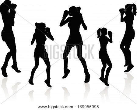 Boxer Woman Vector Silhouette