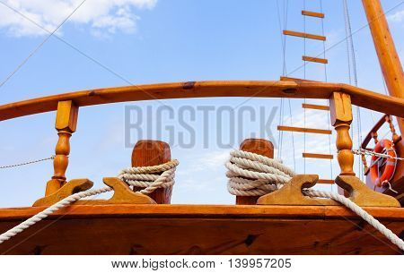 Sailboat, sail yacht detail, yachting sport, adventure in the sea, summer holidays, luxury water transport