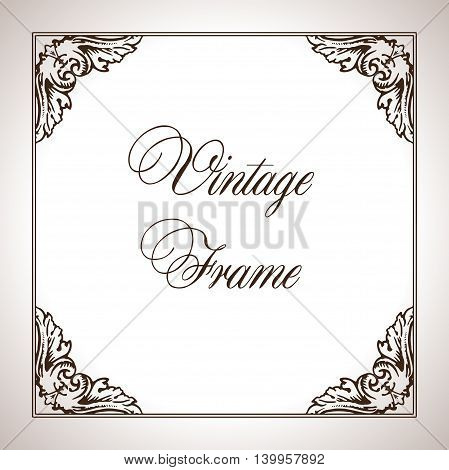 Vector illustration square calligraphic frame in antique style