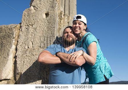Brutal Man And Nice Woman Rest Together Outdoor