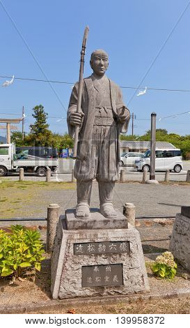 AKO JAPAN - JULY 18 2016: Statue of Chikamatsu Kanroku Yukushige one of famous 47 ronins in the Oishi Shrine. Shrine is dedicated to 47 loyal samurais and is located on the grounds of Ako Castle