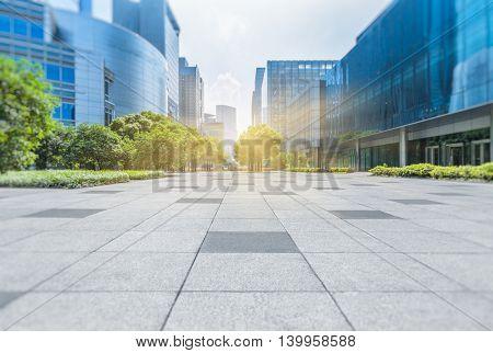 Empty brick floor with modern buildings in Shanghai