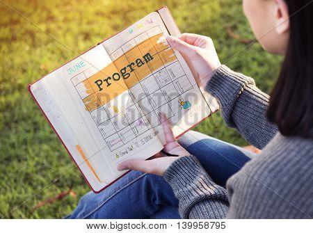 Program Agenda Planner Reminder Calendar To Do Concept