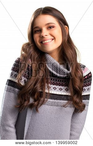 Smiling girl on white background. Gray sweatshirt with print. Youth and health. Live your life and rejoice.