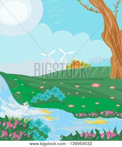Eco farming on rurla landscapes , vector illustration