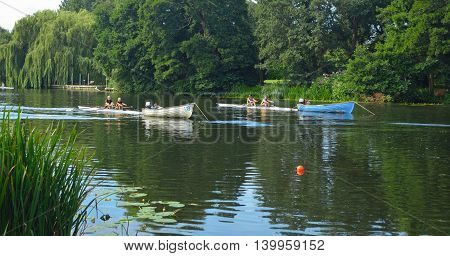 St Neots, Cambridgeshire, England - July 23, 2016: Starting positions for St Neots Regatta  on the River Ouse.