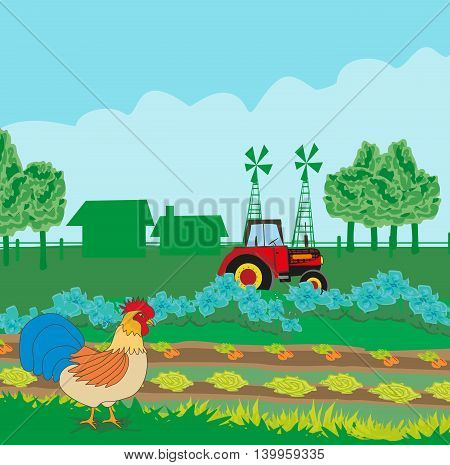 tractor on rural landscape with roster , vector illustration
