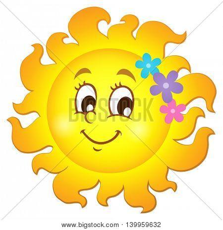 Happy spring sun theme image 1 - eps10 vector illustration.