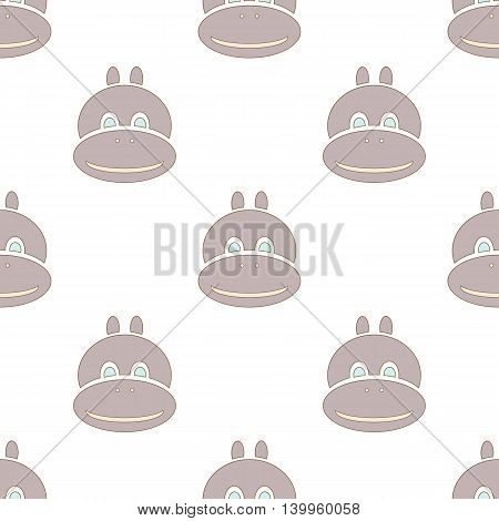 grey hippo seamless texture isolated vector background for kids