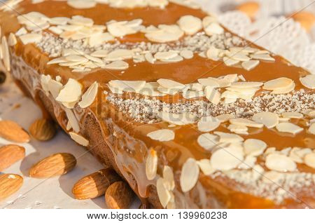 tasty caramel cake with nuts and cinnamon