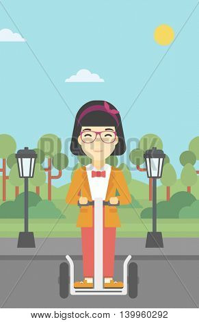 An asian young woman driving electric scooter. Woman on self-balancing electric scooter with two wheels. Woman on electric scooter in the park. Vector flat design illustration. Vertical layout.