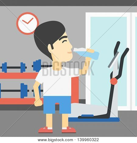 An asian young man drinking water. Sportive man with bottle of water in the gym. Sportsman drinking water from the bottle. Vector flat design illustration. Square layout.