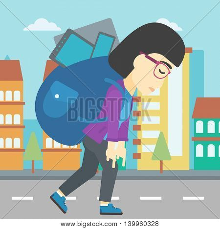 An asian young woman walking with backpack full of different devices. Woman walking with many electronic devices in the city street. Vector flat design illustration. Square layout.