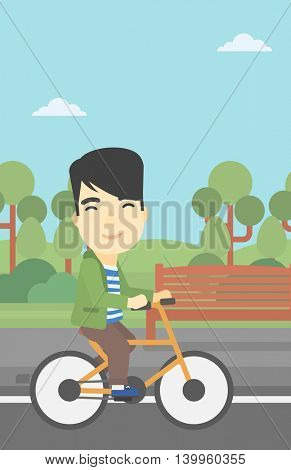 An asian young man riding a bicycle in the park. Cyclist riding bike on forest road. Man on a bike outdoors. Healthy lifestyle concept. Vector flat design illustration. Vertical layout.