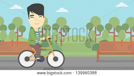 An asian young man riding a bicycle in the park. Cyclist riding bike on forest road. Man on a bike outdoors. Healthy lifestyle concept. Vector flat design illustration. Horizontal layout