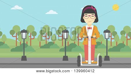 An asian young woman driving electric scooter. Woman on self-balancing electric scooter with two wheels. Woman on electric scooter in the park. Vector flat design illustration. Horizontal layout