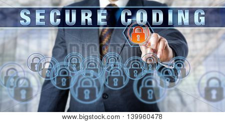 Enterprise software developer is touching SECURE CODING on an interactive control screen. Business metaphor and information technology concept for computer security and defensive programming.