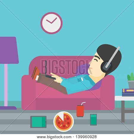 An asian man with belly relaxing on a sofa with many gadgets. Man lying on a sofa surrounded by gadgets. Man using gadgets at home. Vector flat design illustration. Square layout.