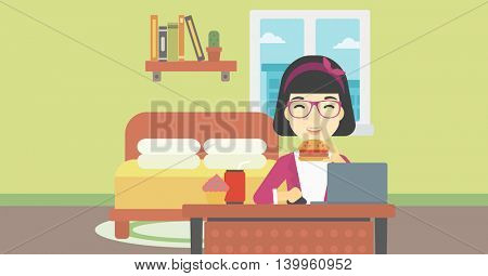 An asian young woman working on laptop while eating junk food on the background of bedroom. Vector flat design illustration. Horizontal layout.