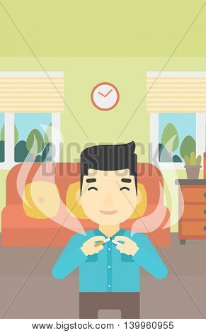 An asian man breaking the cigarette. Man crushing cigarette. Man holding broken cigarette on the background of living room. Quit smoking concept. Vector flat design illustration. Vertical layout.