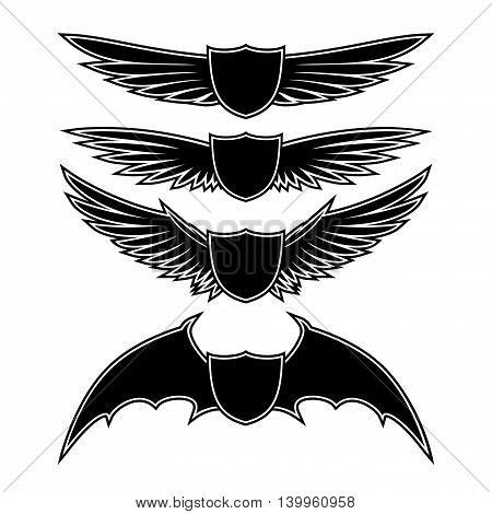 Vector set of stars and wings on a white background.