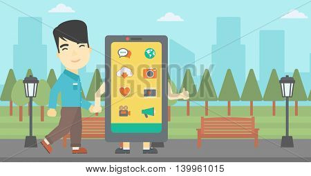An asian young man walking with a big smartphone. Man and big smartphone in the park. Man holding the hand of smartphone. Smartphone addiction. Vector flat design illustration. Horizontal layout
