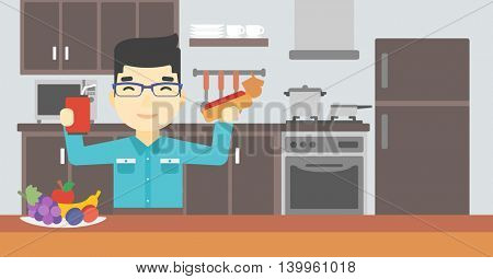 An asian man eating fast food. Man holding fast food in hands in the kitchen. Man choosing between fast food and healthy food. Vector flat design illustration. Horizontal layout.
