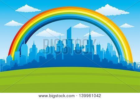 Beautiful rainbow in the blue sky and the city on the horizon.
