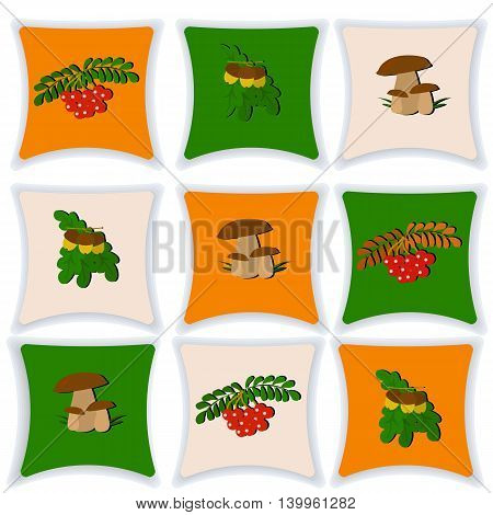 Set of cushions for the interior, fall, mushrooms, acorns, a branch of Rowan, vector illustration